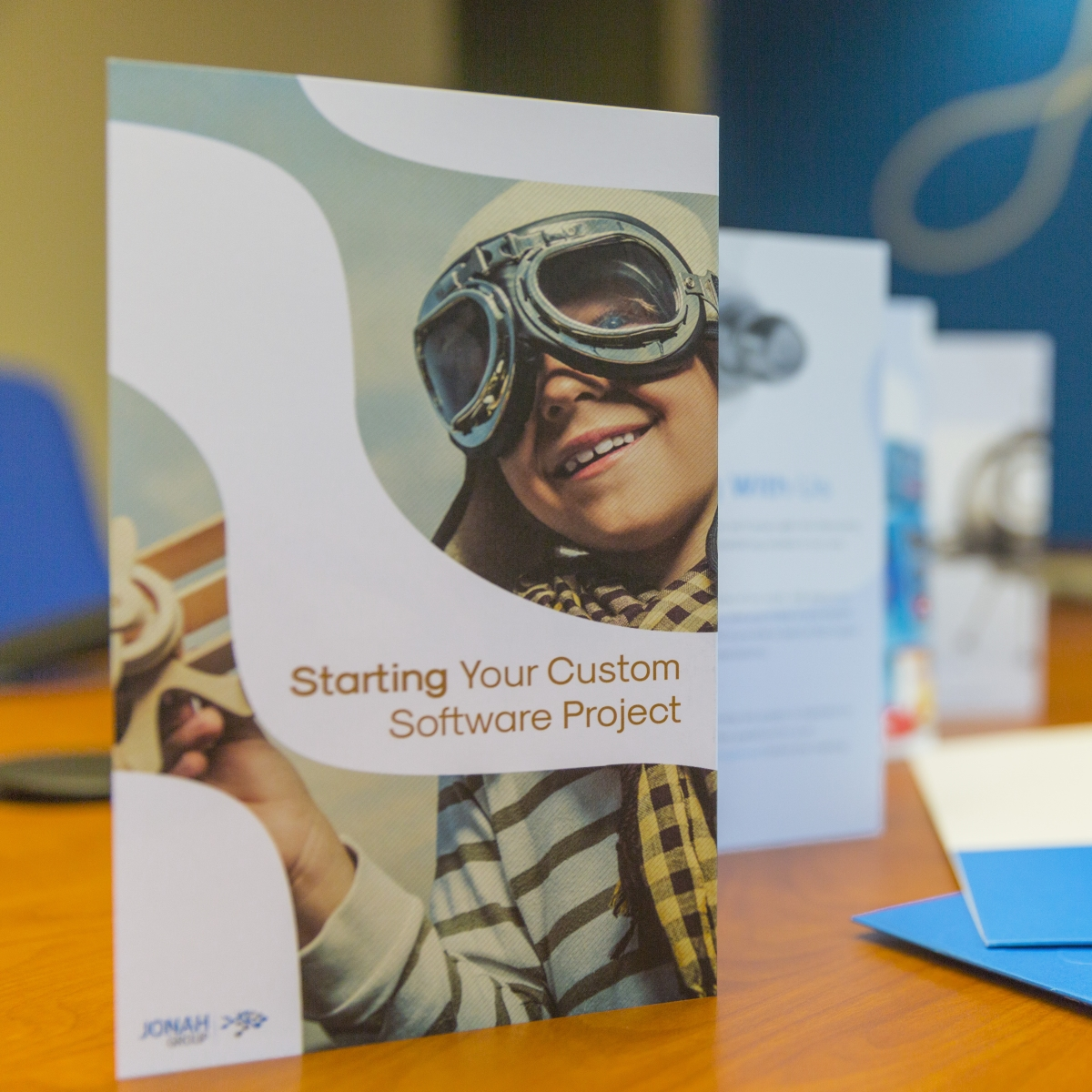 Getting Started Guide pamphlet on boardroom table